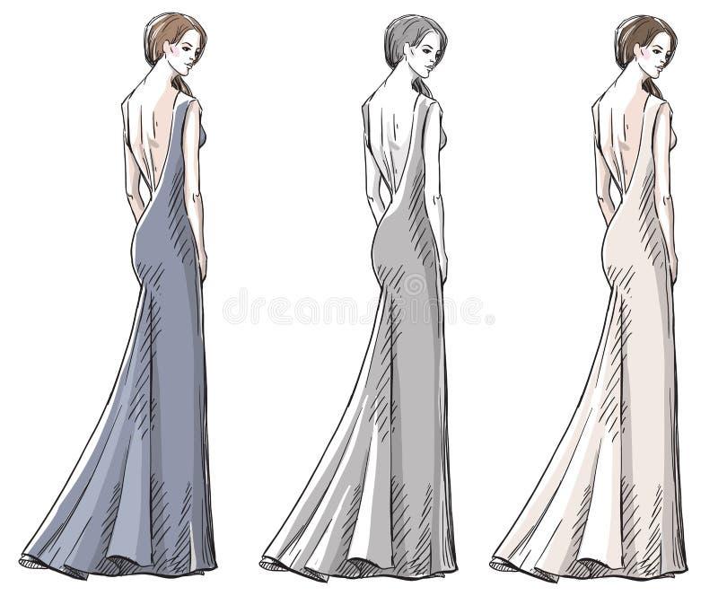 Mody ręka rysująca ilustracja suknia tęsk ilustracji