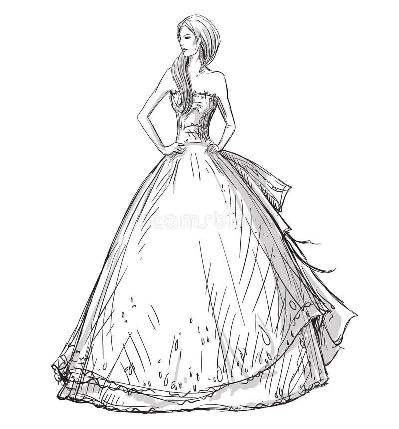 Mody ręka rysująca ilustracja suknia tęsk Panna młoda royalty ilustracja