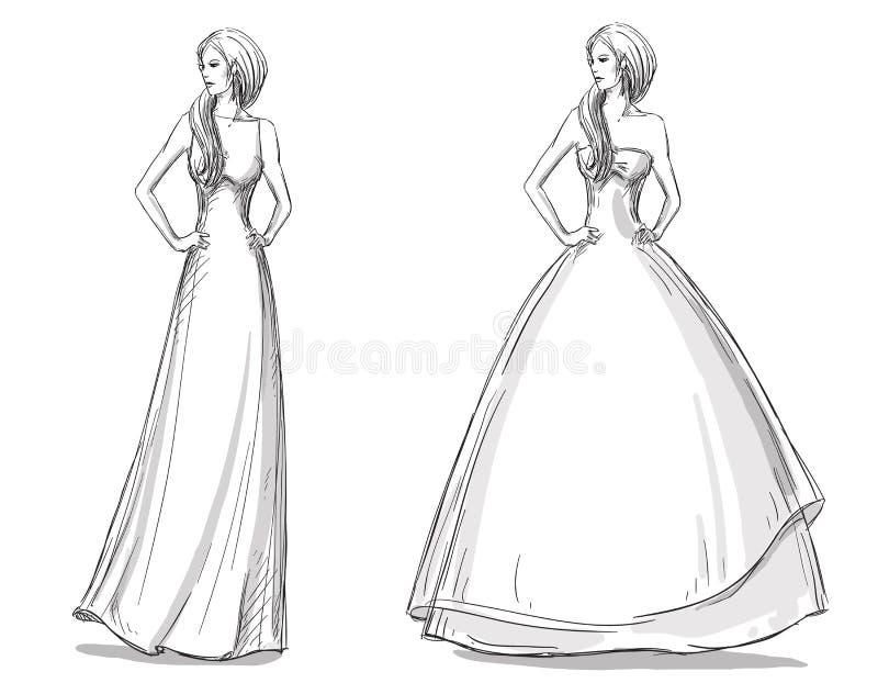 Mody ręka rysująca ilustracja suknia tęsk Panna młoda ilustracji