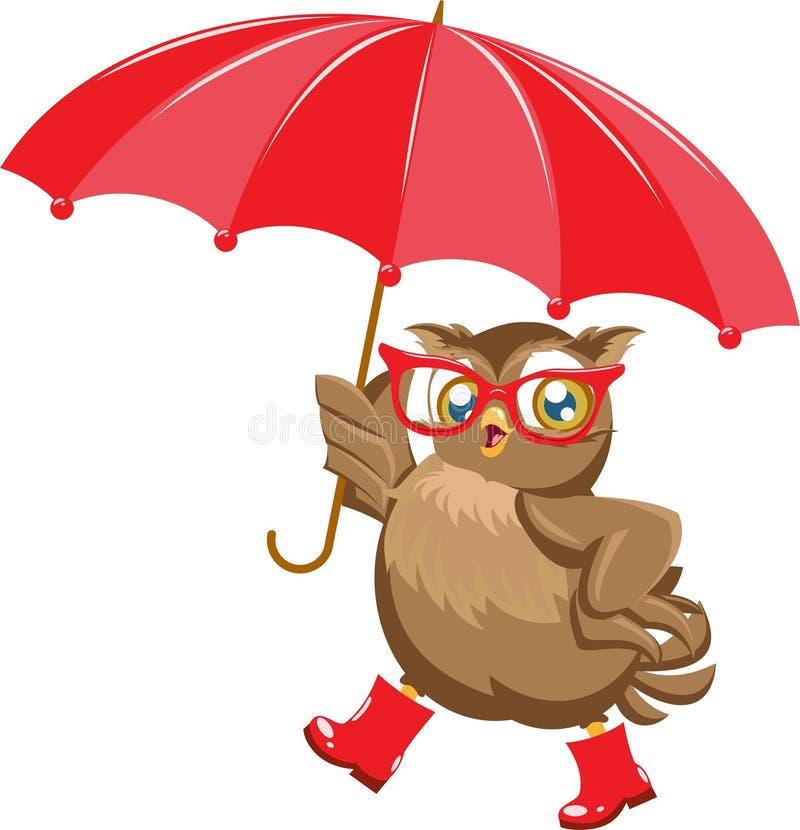 Mody sowa pod parasolem ilustracja wektor