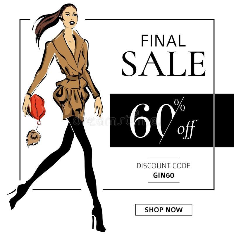 Mody sprzedaży sztandar z kobiety mody modelem z czerwonymi wargami zdojest, online zakupy reklam sieci ogólnospołeczny medialny  ilustracji