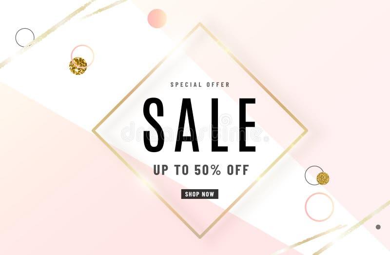 Mody sprzedaży sztandaru projekta tło z złoto ramą, akwareli złoty muśnięcie, oferta specjalna tekst, geometryczni elementy ilustracji