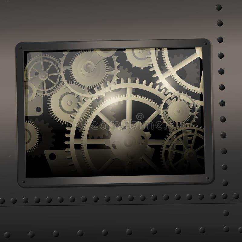 Download Mody tło kruszcowy ilustracji. Ilustracja złożonej z mechanizm - 65225296