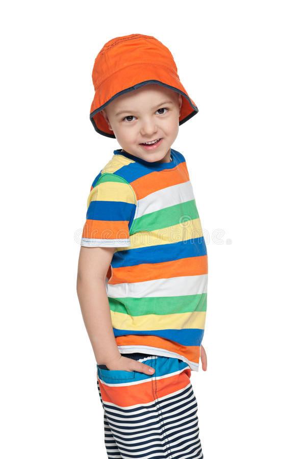 Mody uśmiechnięta chłopiec obraz stock