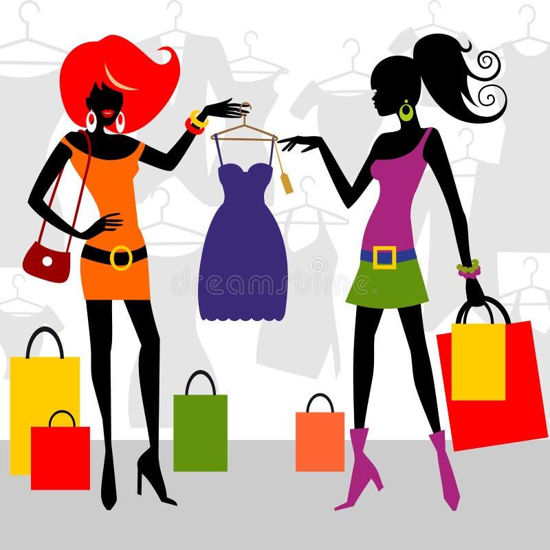 mody zakupy kobiety ilustracja wektor