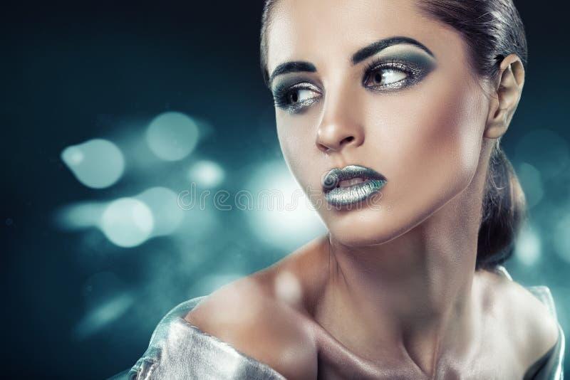 Mody zielony makeup obraz stock