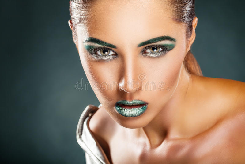 Mody zielony makeup zdjęcia royalty free