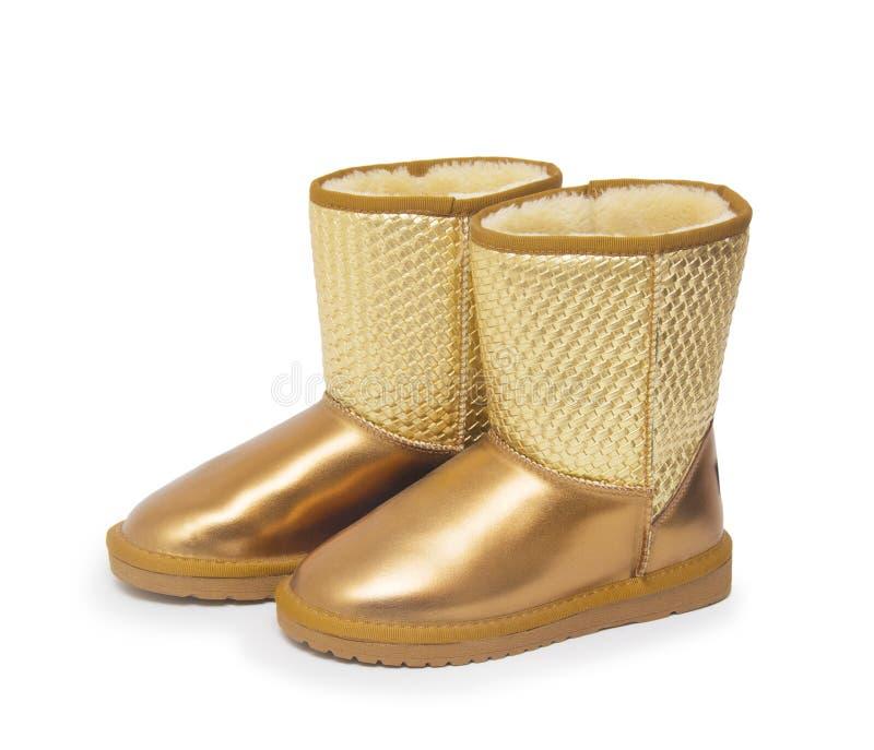 Mody zimy buty murzynów buty odizolowywający na białym tle fotografia stock