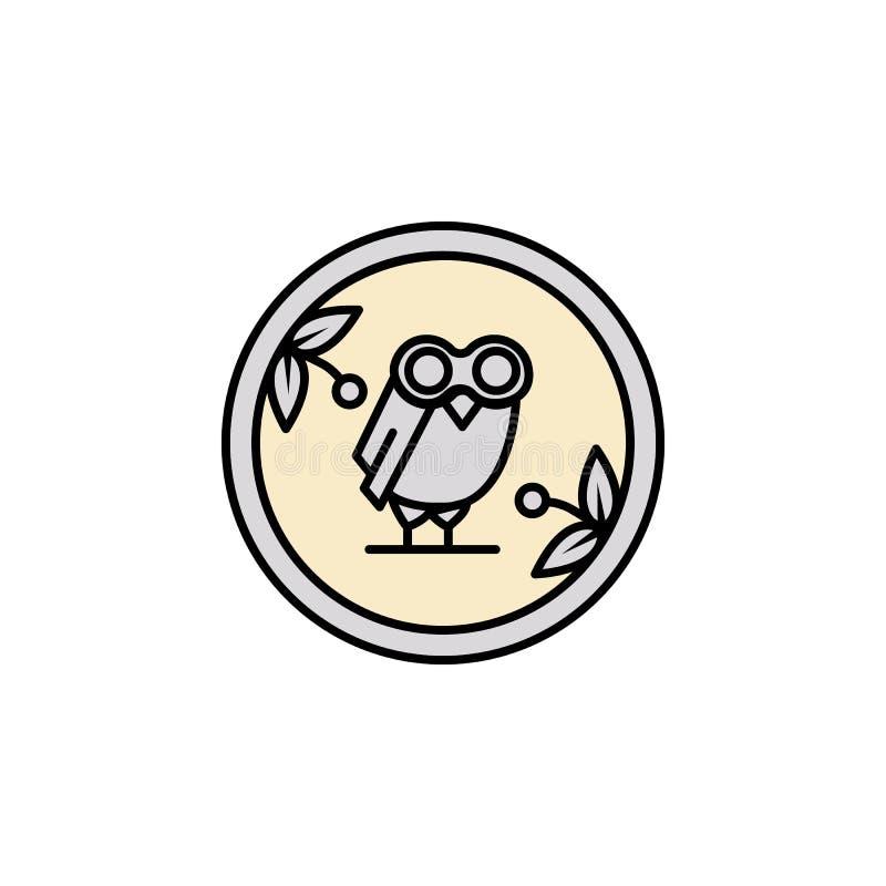 Moeda, ícone da coruja Elemento do ícone de greece antigo da cor para apps móveis do conceito e da Web A moeda colorida, ícone da ilustração stock