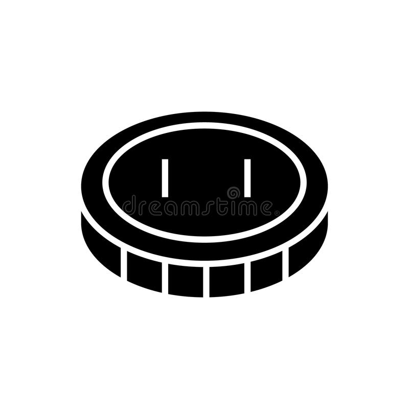 Moeda - ícone do centavo, ilustração do vetor, sinal preto no fundo isolado ilustração royalty free