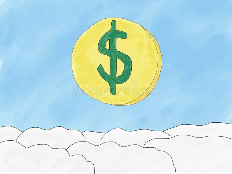 Moeda abstrata do dólar da garatuja da tração da mão no fundo do céu, fraco do conceito da moeda do dólar, ilustração, espaço da  ilustração royalty free
