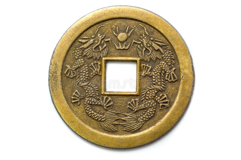 Moeda afortunada do shui chinês velho do feng fotografia de stock royalty free