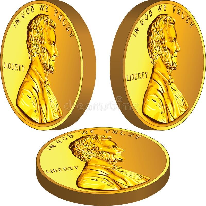 Moeda americana do dinheiro do ouro com Lincoln ilustração stock