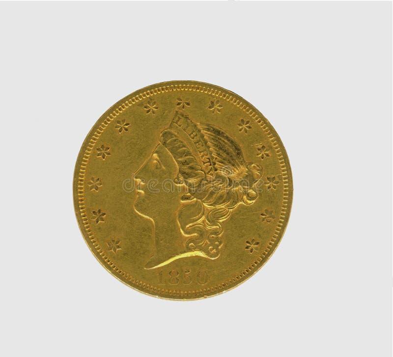 Moeda antiga do ouro dos EUA $20 fotografia de stock royalty free