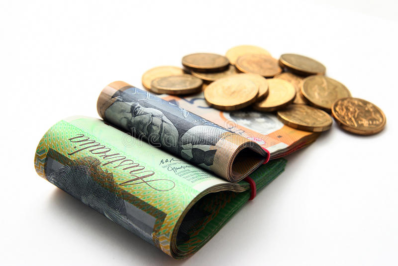 Moeda australiana isolada no branco foto de stock royalty free