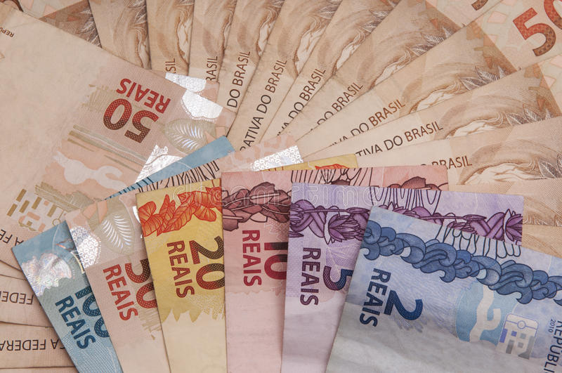Moeda brasileira (real) imagens de stock royalty free