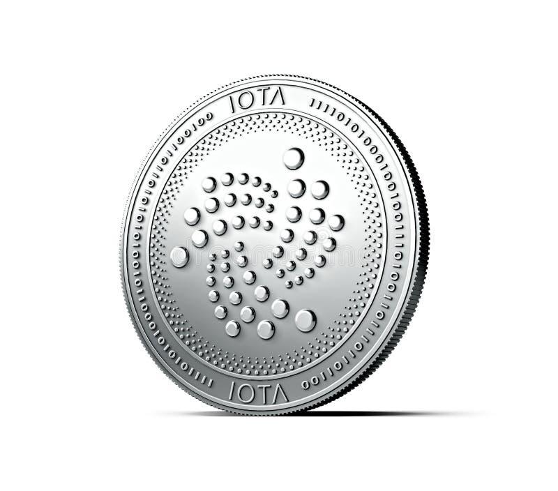 Moeda brilhante do IOTA da prata isolada no fundo branco rendição 3d ilustração stock