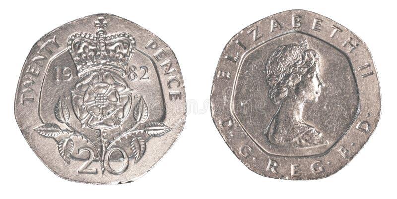 moeda britânica de 20 moedas de um centavo imagens de stock royalty free