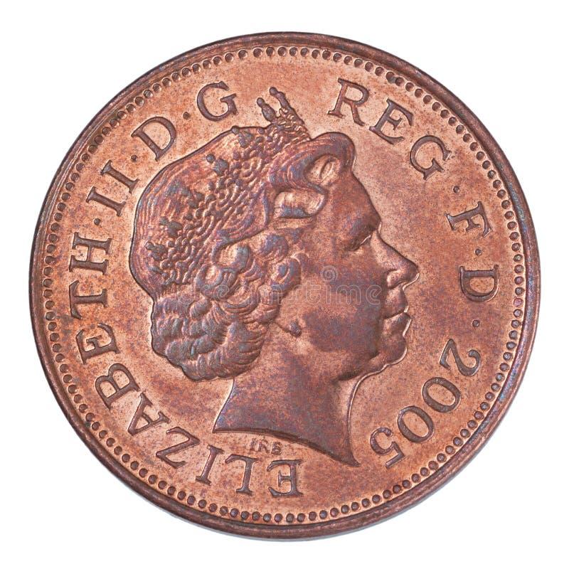 Moeda britânica de duas moedas de um centavo fotos de stock