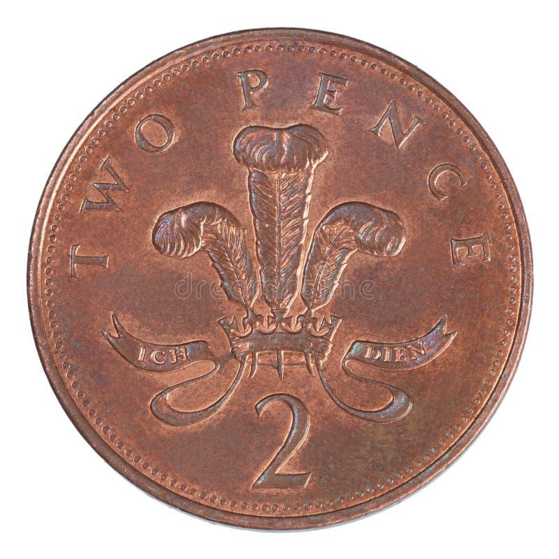 Moeda britânica de duas moedas de um centavo imagem de stock