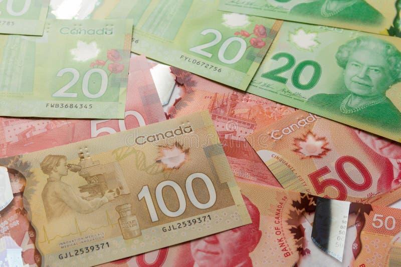 Moeda canadense Dólares Ideia aérea das contas de diferente foto de stock royalty free