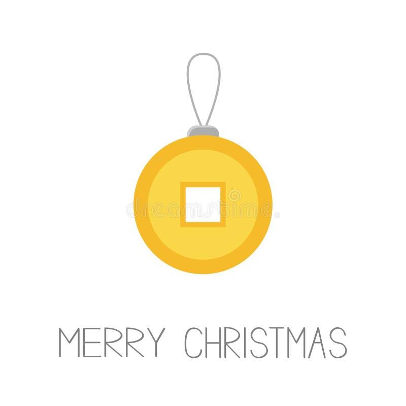 Moeda chinesa do shui de Feng com furo Dinheiro do ouro de China Feliz Natal Projeto liso Fundo branco isolado ano novo feliz 200 ilustração stock