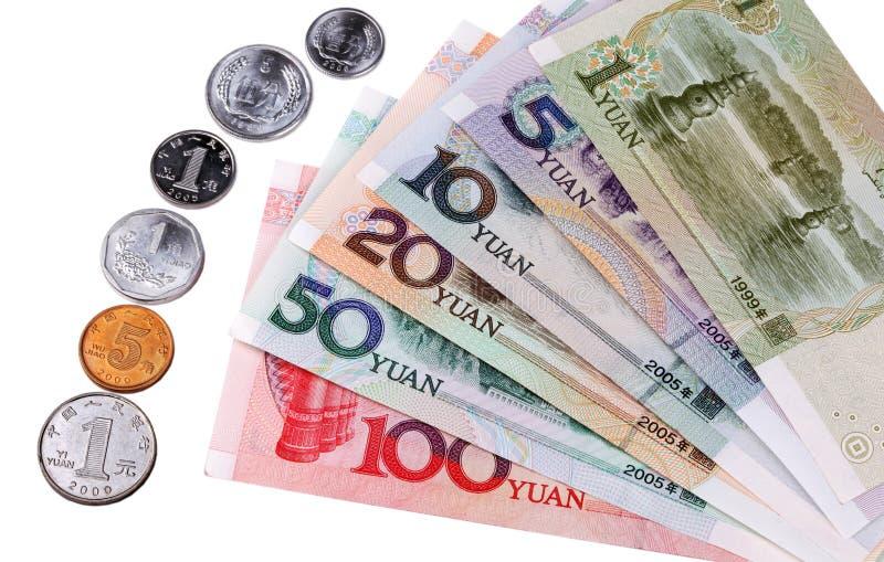 Moeda chinesa: Tipos de notas de banco e de moedas fotografia de stock royalty free