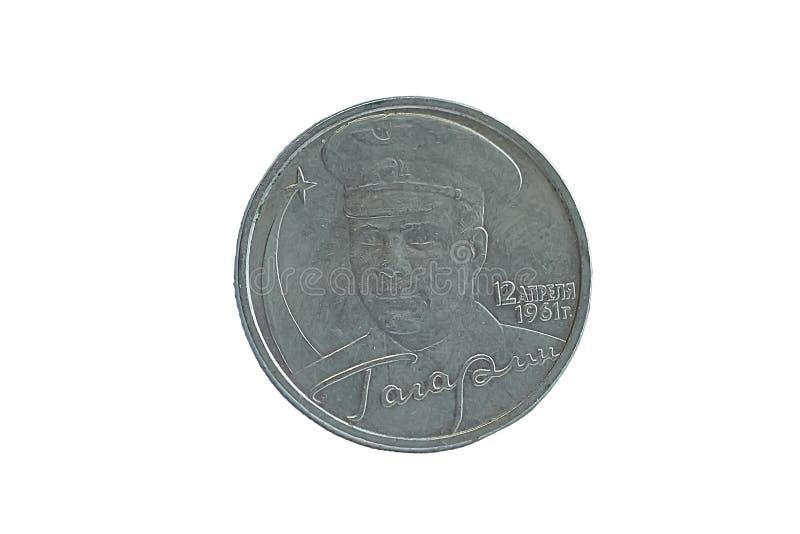 Moeda com a imagem de Yuri Gagarin imagem de stock
