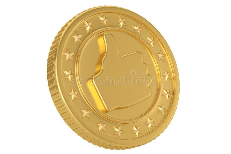 Moeda como dourada isolada na ilustração branca do fundo 3D ilustração royalty free