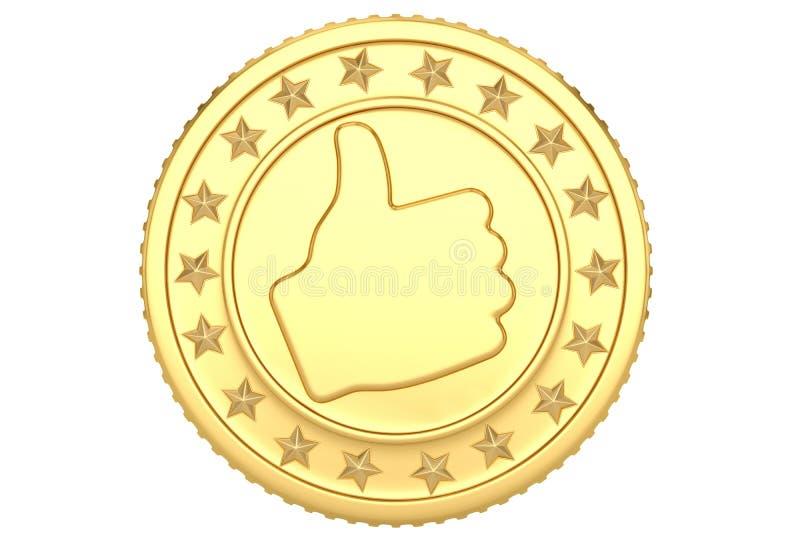 Moeda como dourada isolada na ilustração branca do fundo 3D ilustração stock