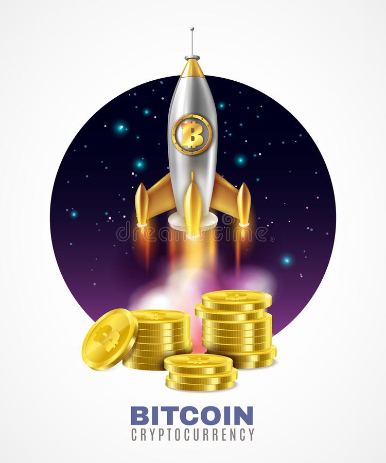 A moeda cripto começa acima a ilustração ilustração stock