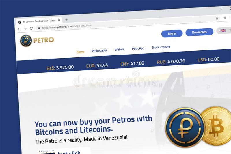 Moeda cripto da moeda do EL Petro Venezualan Spanish suportada pelo homepage do Web site do óleo foto de stock royalty free