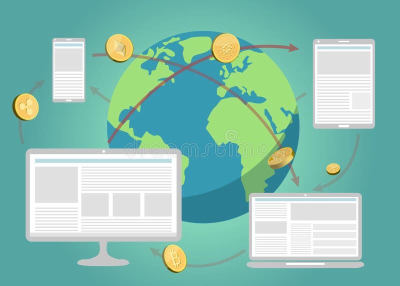 A moeda cripto inventa a transação e os dispositivos em torno da terra ilustração do vetor