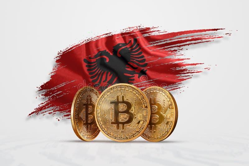 Moeda criptográfica, moeda de ouro BITCOIN BTC Moeda de bitcoin contra o fundo da bandeira da Albânia O conceito de nova moeda, ilustração do vetor
