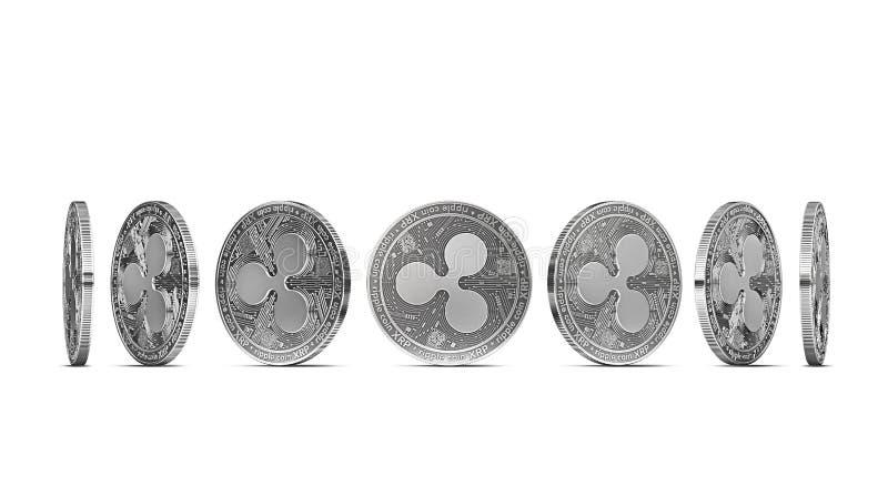 Moeda da ondinha mostrada de sete ângulos isolados no fundo branco Fácil cortar e usar o ângulo particular da moeda ilustração royalty free