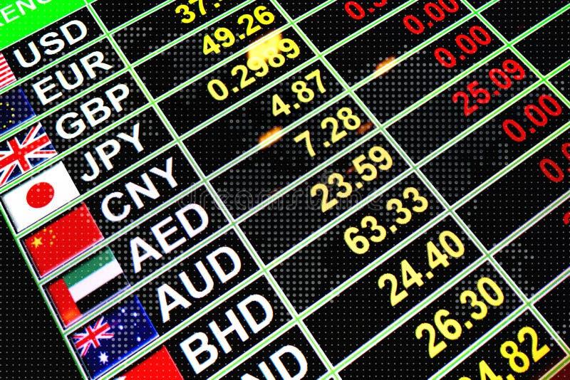 Moeda da taxa de câmbio na placa digital para o conce do dinheiro do negócio foto de stock