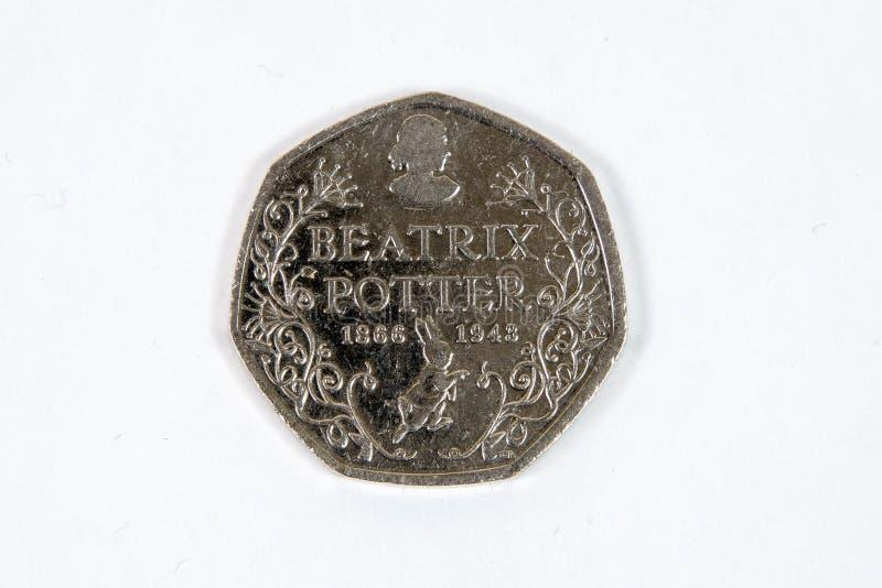 Moeda das moedas de um centavo de Beatrix Potter cinqüênta foto de stock royalty free