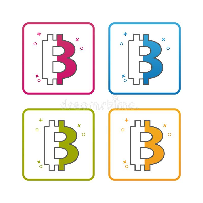 Moeda de Bitcoin - esboço denominou o ícone - curso editável - ilustração colorida do vetor - isolado no fundo branco ilustração royalty free