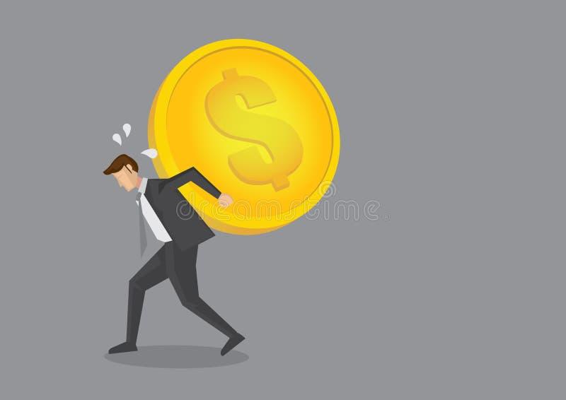 Moeda de Carrying Heavy Gold do homem de negócios no seu desenhos animados do vetor da parte traseira ilustração stock