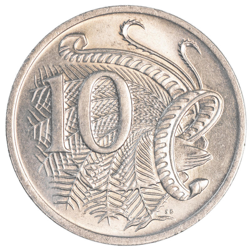moeda de 10 centavos australianos imagem de stock royalty free
