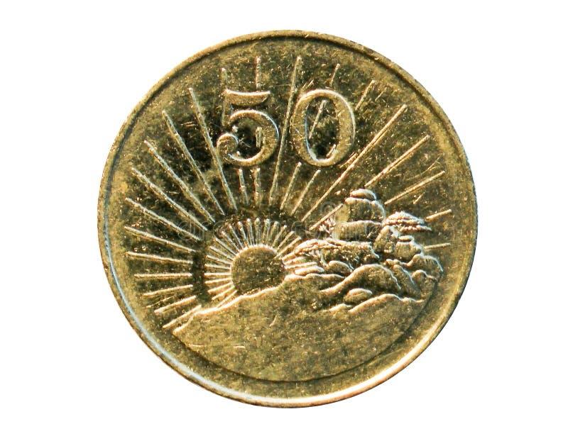 Moeda de 50 centavos Banco de Zimbabwe Reverso, 1997 fotografia de stock