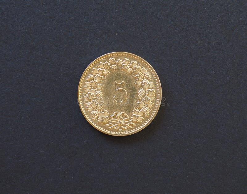 moeda de 5 centavos, Suíça foto de stock royalty free