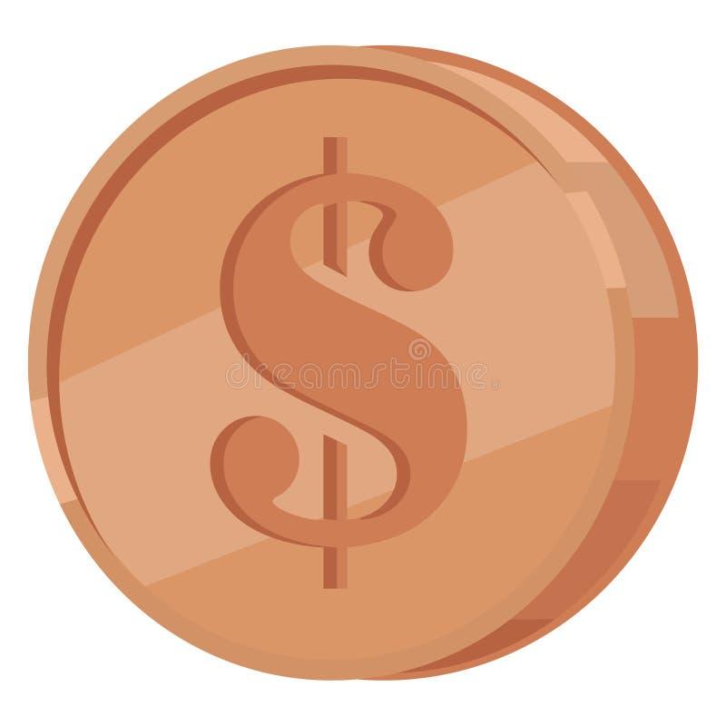 Moeda de cobre com ícone liso do vetor do sinal de dólar ilustração royalty free