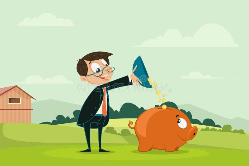 Moeda de derramamento do homem de negócios em Piggybank ilustração stock