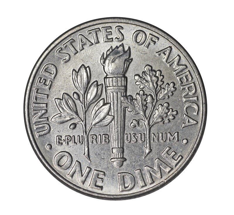 Moeda de dez centavos americana imagem de stock