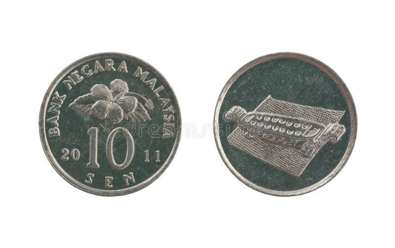 Moeda de dez centavos de Malásia imagem de stock royalty free