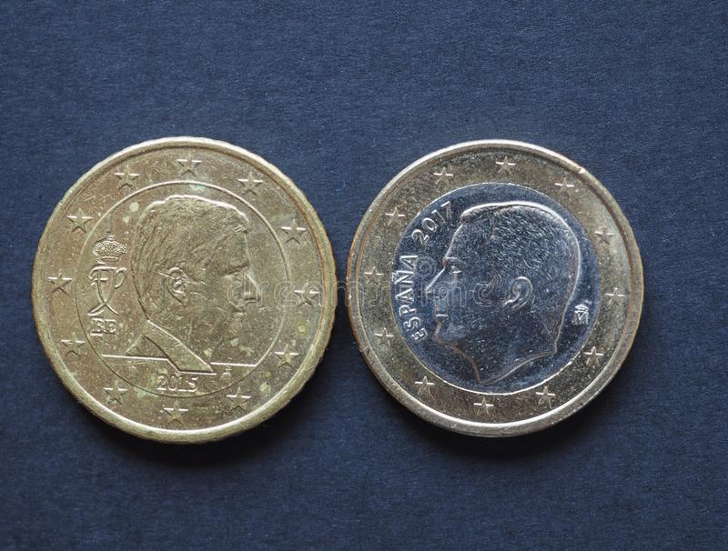 moeda de 20 e 50 centavos, União Europeia imagens de stock