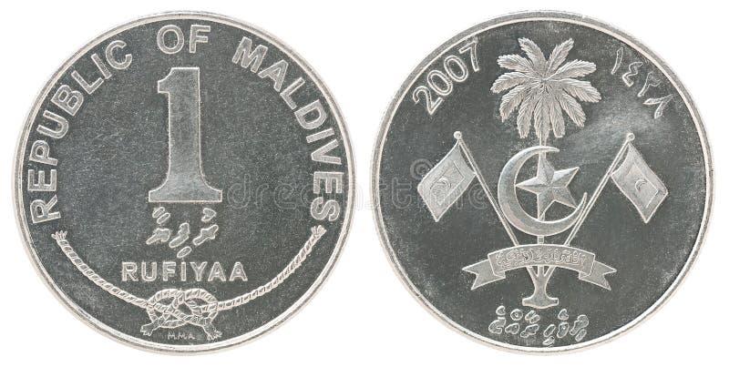 Moeda de Maldivo Rufiyaa fotografia de stock royalty free