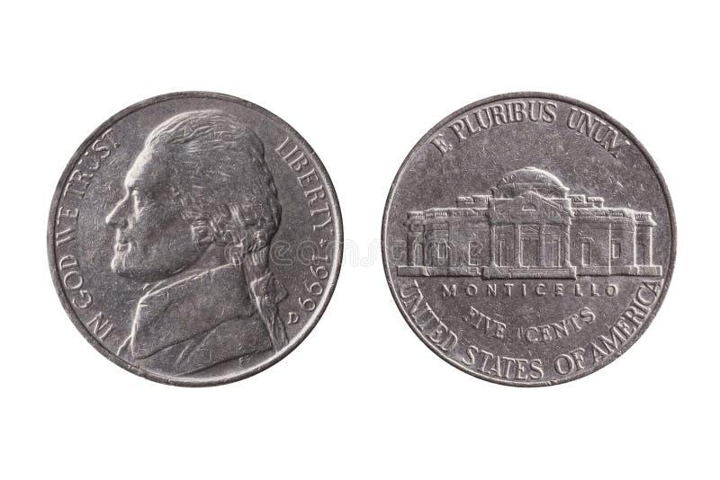 Moeda de níquel da moeda de dez centavos dos EUA meia 25 centavos com uma imagem do retrato de Thomas Jefferson fotos de stock royalty free