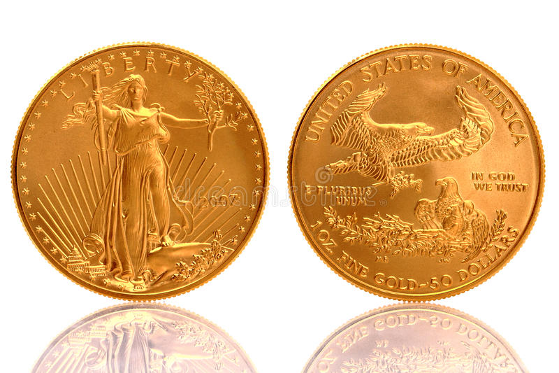 Moeda de ouro americana da águia $50 ouro fino de 1 onça foto de stock royalty free